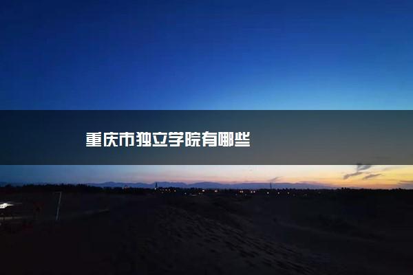 重庆市独立学院有哪些