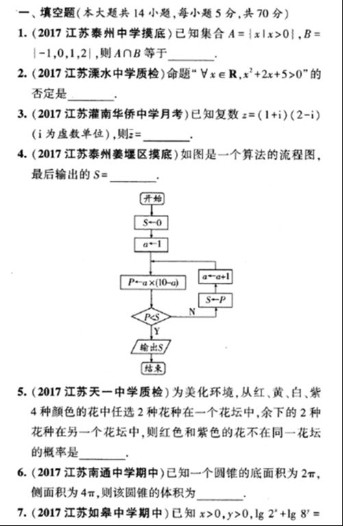 2018江苏高考数学调研模拟卷一(含答案)