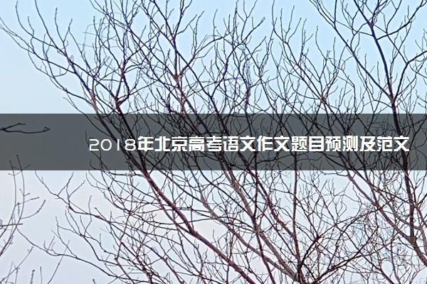 2018年北京高考语文作文题目预测及范文