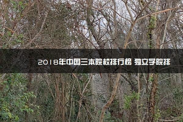 2018年中国三本院校排行榜 独立学院排名