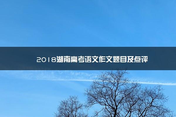 2018湖南高考语文作文题目及点评