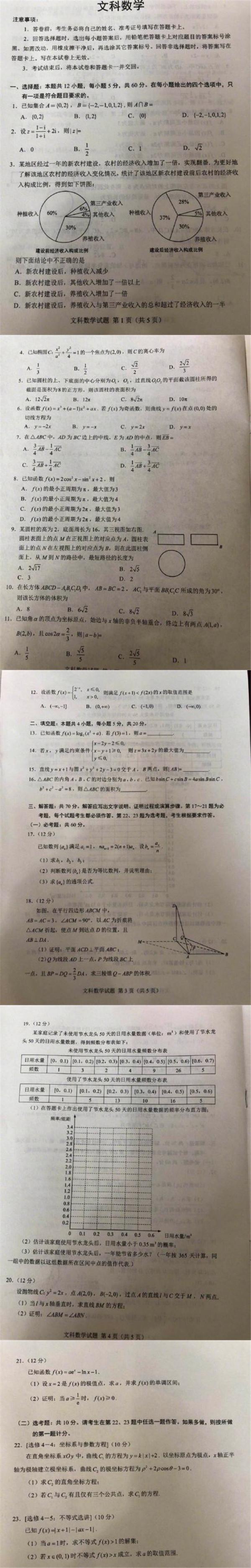2018安徽高考文科数学试题【图片版】
