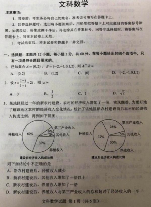2018山东高考文科数学试题【图片版】