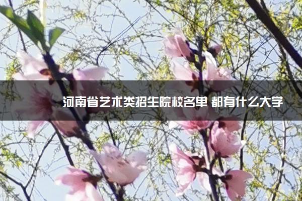 河南省艺术类招生院校名单 都有什么大学