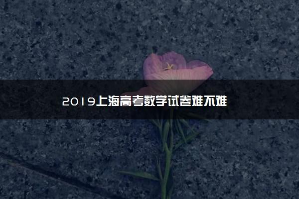 2019上海高考数学试卷难不难
