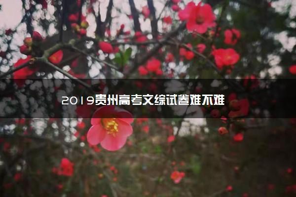 2019贵州高考文综试卷难不难