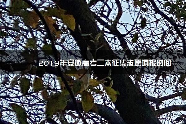 2019年安徽高考二本征集志愿填报时间