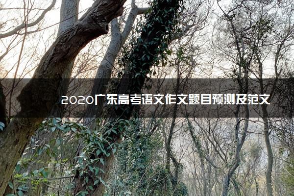 2020广东高考语文作文题目预测及范文