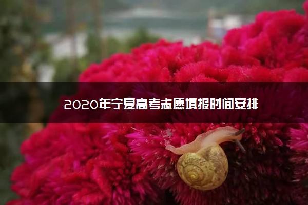 2020年宁夏高考志愿填报时间安排