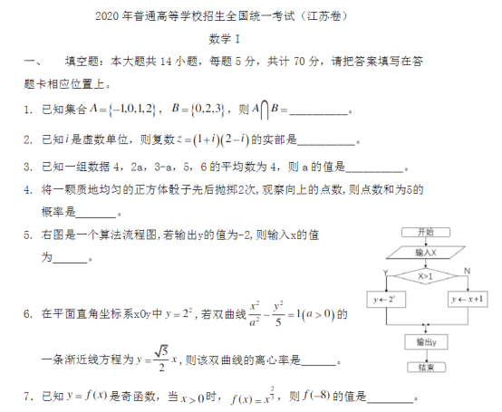 2020江苏高考数学试题