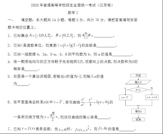 2020江苏高考数学试题及答案解析