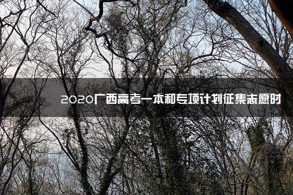 2020广西高考一本和专项计划征集志愿时间