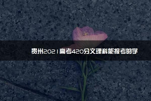 贵州2021高考420分文理科能报考的学校名单