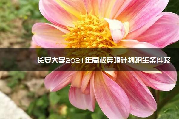 长安大学2021年高校专项计划招生条件及计划