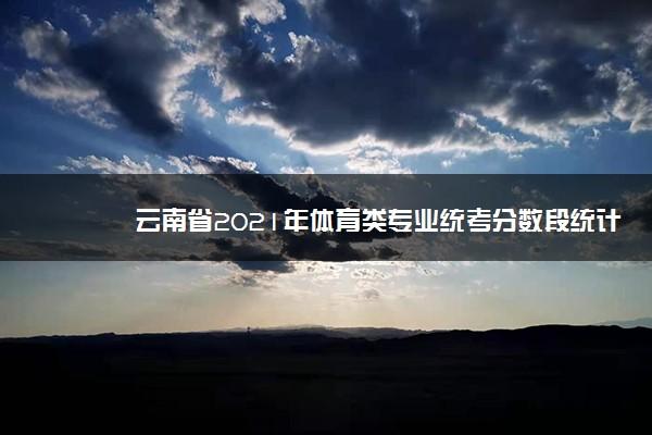 云南省2021年体育类专业统考分数段统计表 各分段人数统计