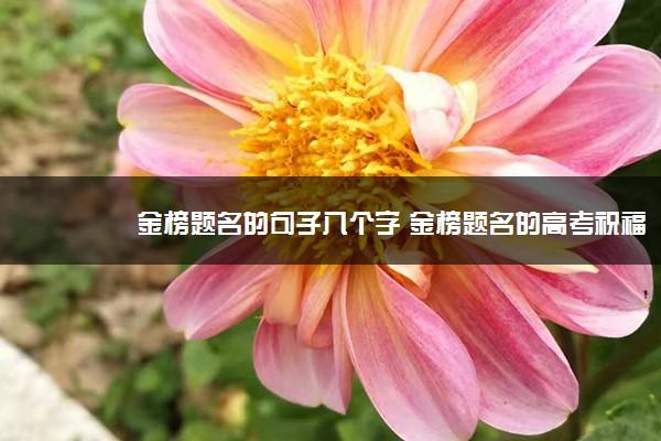 金榜题名的句子八个字 金榜题名的高考祝福语大全
