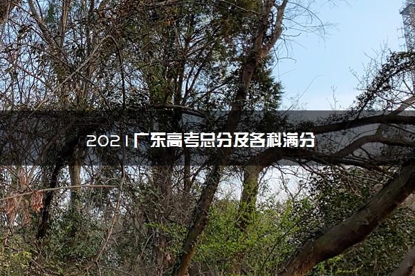 2021广东高考总分及各科满分