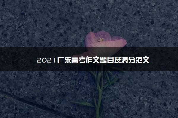 2021广东高考作文题目及满分范文
