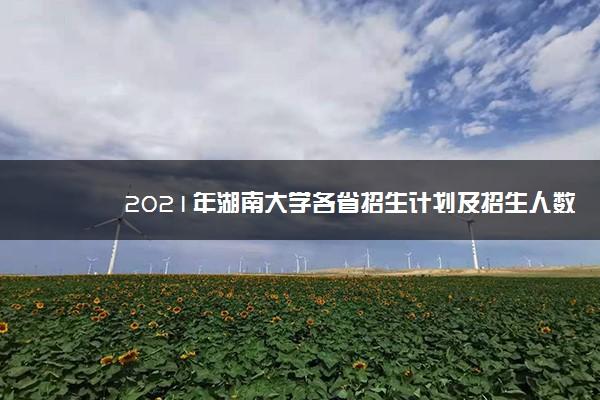 2021年湖南大学各省招生计划及招生人数