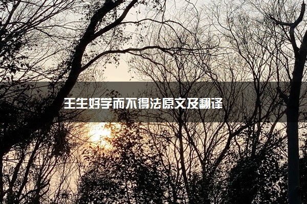 王生好学而不得法原文及翻译