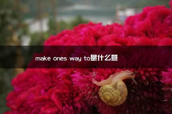 make ones way to是什么意思