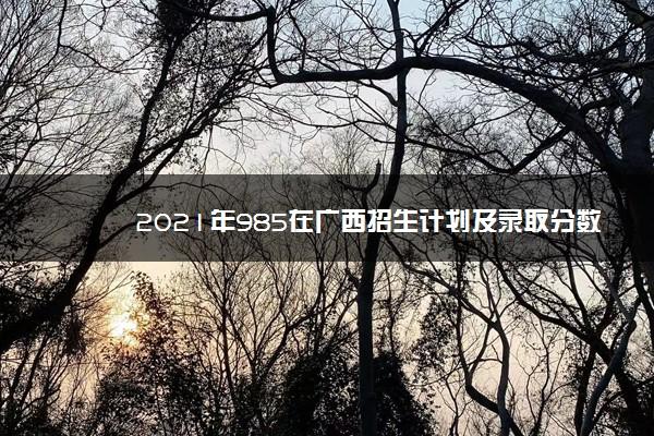 2021年985在广西招生计划及录取分数线