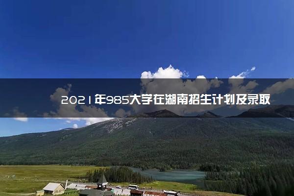 2021年985大学在湖南招生计划及录取分数线