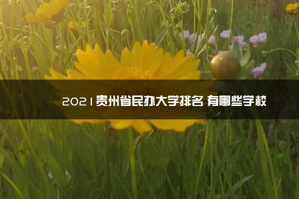 2021贵州省民办大学排名 有哪些学校