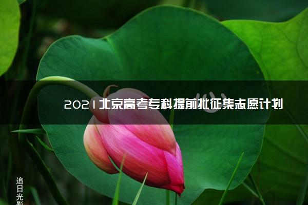 2021北京高考专科提前批征集志愿计划