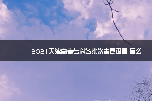 2021天津高考专科各批次志愿设置 怎么设置的