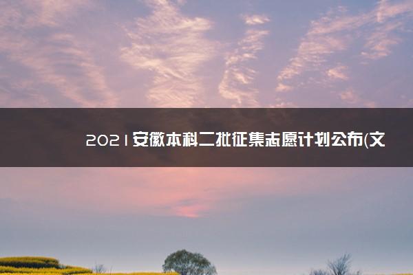 2021安徽本科二批征集志愿计划公布(文史)