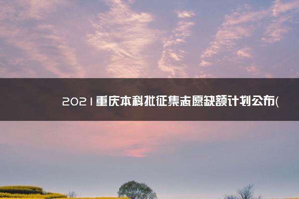 2021重庆本科批征集志愿缺额计划公布(物理)