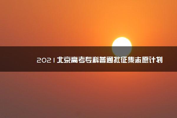 2021北京高考专科普通批征集志愿计划