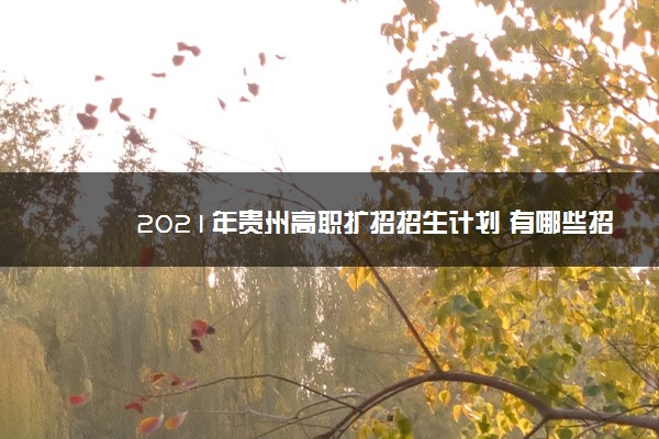2021年贵州高职扩招招生计划 有哪些招生专业